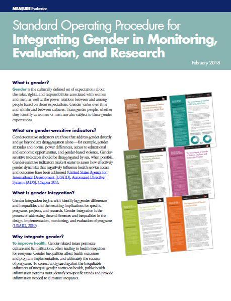Standard Operating Procedure for Integrating Gender in Monitoring