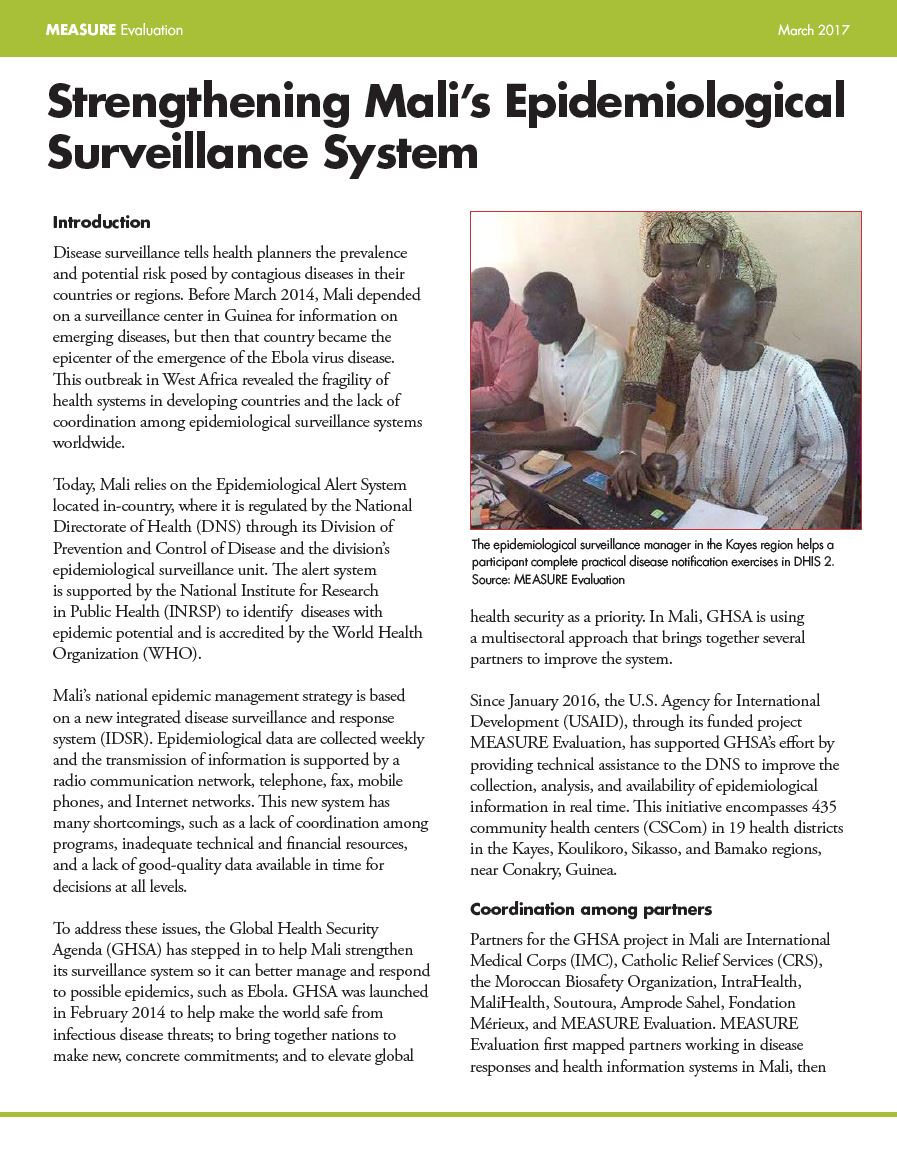Strengthening Malis Epidemiological Surveillance System