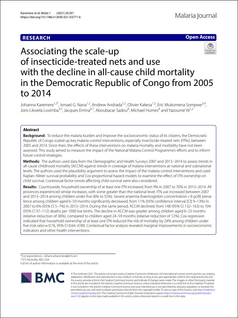 Associating the scale-up of insecticide-treated nets and use with the decline in all-cause child mortality in the Democratic Republic of Congo from 2005 to 2014